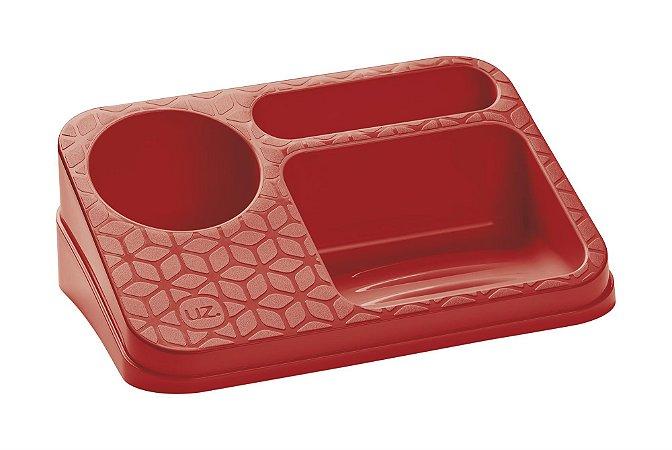 Organizador De Pia Suporte Porta Detergente Esponja Sabão Cozinha Bancada - UZ395 Uz - Vermelho