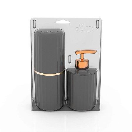 Conjunto Banheiro 2 Peças Portas Escovas + Dispenser Sabonete Líquido Groove Ou - Chumbo