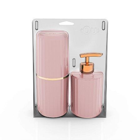 Conjunto Banheiro 2 Peças Portas Escovas + Dispenser Sabonete Líquido Groove Ou - Rosa