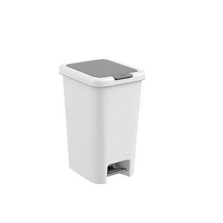 Lixeira Pedal Tampa Click 10L Cesto Lixo Cozinha Banheiro Double - 10923 Coza - Branco
