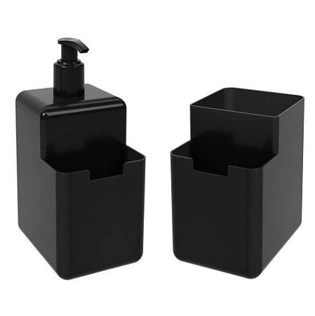 Kit Dispenser Porta Detergente Líquido Esponja Organizador De Pia Cozinha Single Coza - Preto