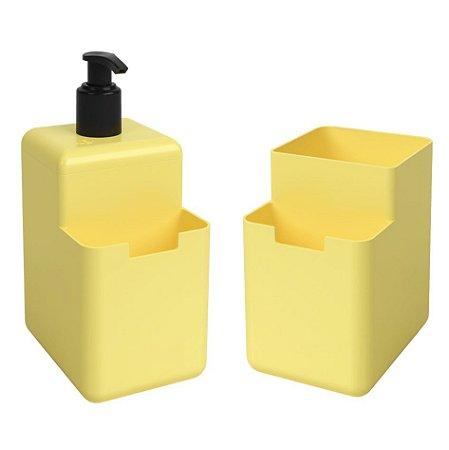 Kit Dispenser Porta Detergente Líquido Esponja Organizador De Pia Cozinha Single Coza - Amarelo