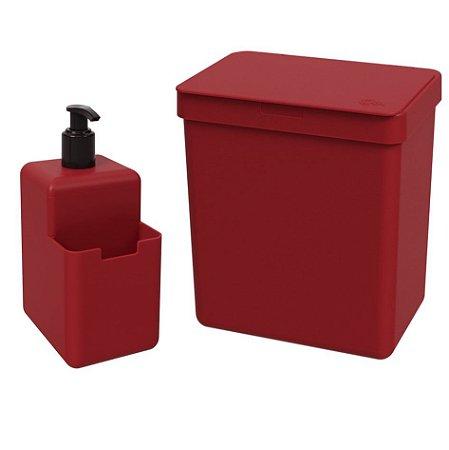 Kit Lixeira 2,5L Dispenser Porta Detergente Líquido Esponja Single Organizador Pia Cozinha Coza - Vermelho
