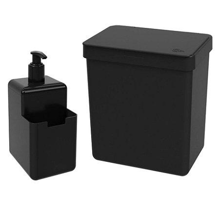 Kit Lixeira 2,5L Dispenser Porta Detergente Líquido Esponja Single Organizador Pia Cozinha Coza - Preto