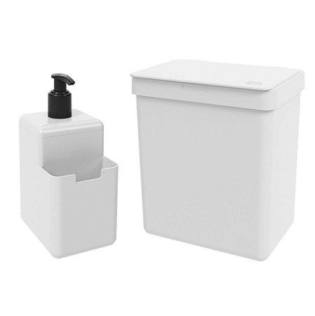 Kit Lixeira 2,5L Dispenser Porta Detergente Líquido Esponja Single Organizador Pia Cozinha Coza - Branco