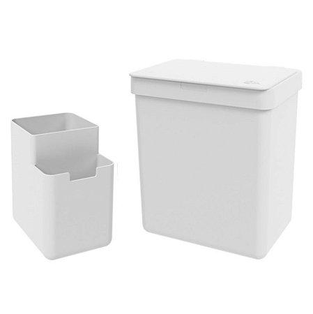 Kit Lixeira 2,5L Organizador De Pia Escorredor Talher Bancada Cozinha Single Coza - Branco