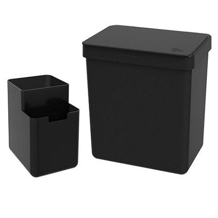 Kit Lixeira 2,5L Organizador De Pia Escorredor Talher Bancada Cozinha Single Coza - Preto