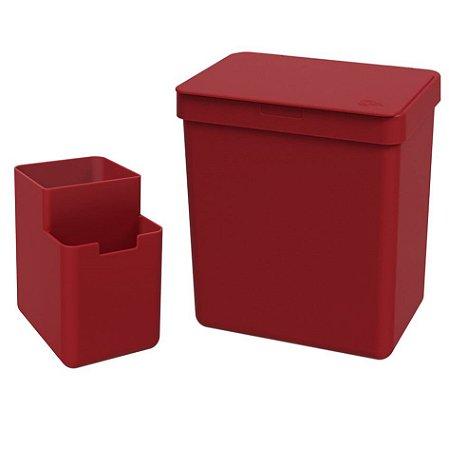 Kit Lixeira 2,5L Organizador De Pia Escorredor Talher Bancada Cozinha Single Coza - Vermelho