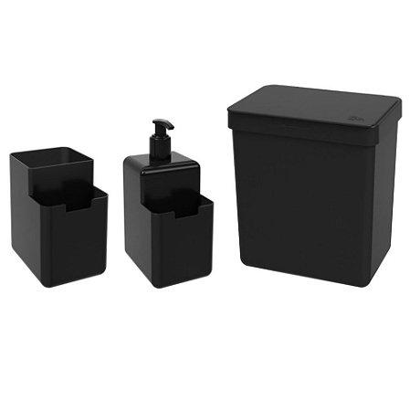 Kit Lixeira 2,5L Dispenser Detergente Líquido Porta Esponja Organizador Pia Single Coza - Preto