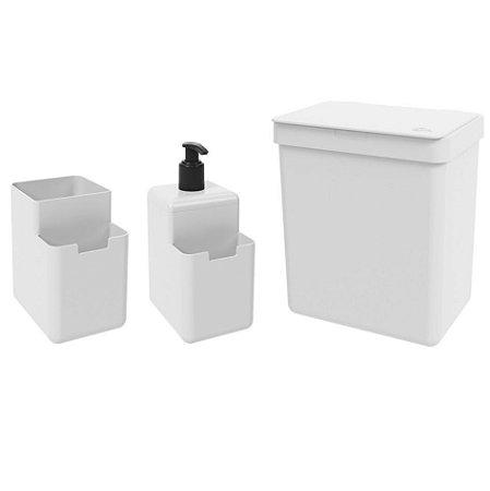Kit Lixeira 2,5L Dispenser Detergente Líquido Porta Esponja Organizador Pia Single Coza - Branco
