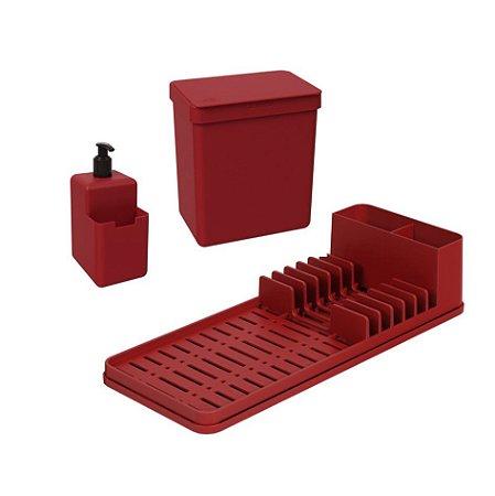 Kit Lixeira 2,5L Dispenser Porta Detergente Líquido Escorredor De Louças Single Coza - Vermelho