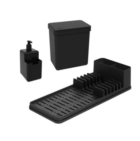 Kit Lixeira 2,5L Dispenser Porta Detergente Líquido Escorredor De Louças Single Coza - Preto