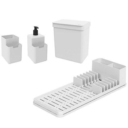 Kit Lixeira 2,5L Dispenser Detergente Escorredor De Louça Organizador De Pia Single Coza - Branco
