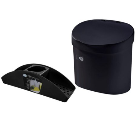 Kit Lixeira 4L Com Tampa Organizador De Pia Porta Detergente Cozinha Coza - Preto
