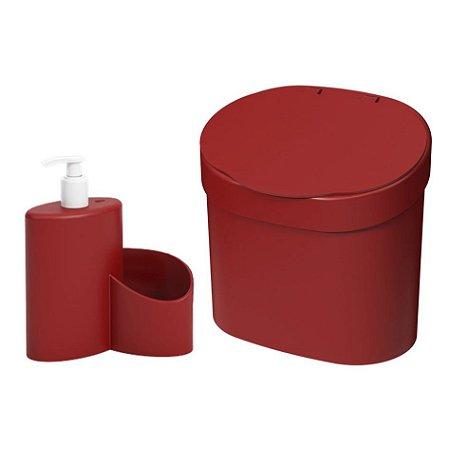 Kit Lixeira 4L Com Tampa Dispenser Detergente Porta Esponja Com Rodinho Coza - Vermelho