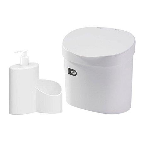 Kit Lixeira 4L Com Tampa Dispenser Detergente Porta Esponja Com Rodinho Coza - Branco