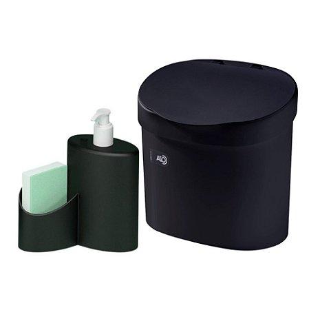 Kit Lixeira 4L Com Tampa Dispenser Detergente Porta Esponja Com Rodinho Coza - Preto
