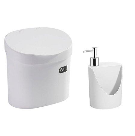 Kit Lixeira 4L Com Tampa Dispenser Detergente R&J Porta Esponja Pia Cozinha Coza - Branco