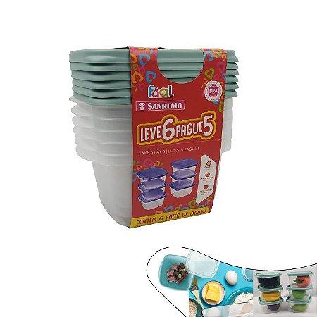Conjunto Potes Hermético Plástico Pague 5 leve 6 Mantimentos Geladeira - SR125/7 Sanremo