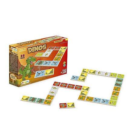 Jogo Dominó Infantil Dinos Educativo Brinquedo madeira  - 752 Junges
