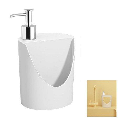 Dispenser Porta Detergente Suporte Esponja Pia Cozinha R&J Basic - 10837 Coza - Branco