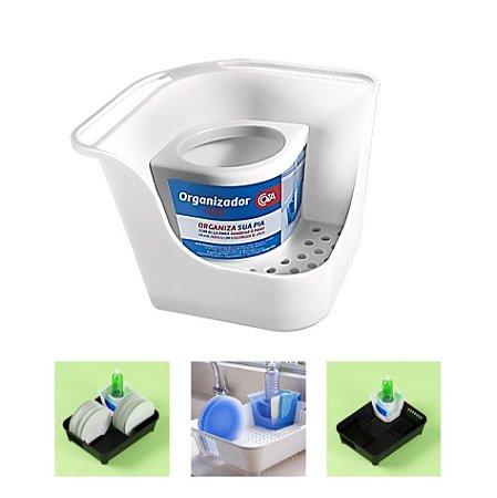 Organizador De Pia Porta Detergente Esponja Sabão Suporte Escorredor de Louça Flex- 10849 Coza - Branco