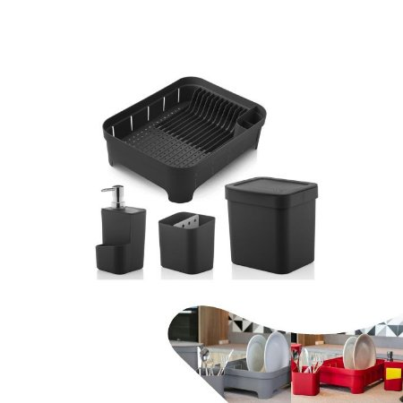 Conjunto Escorredor Louças Talheres Porta Detergente Lixeira 2,5 Litros - KTE 011 Ou