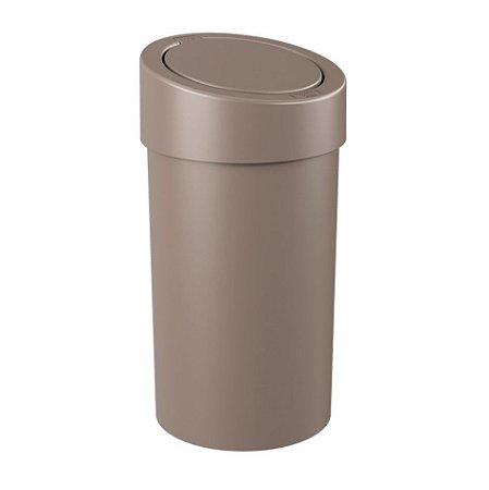Lixeira Click 9 Litros Plástica Cesto De Lixo Cozinha Banheiro Press - 10909 Coza - Cinza