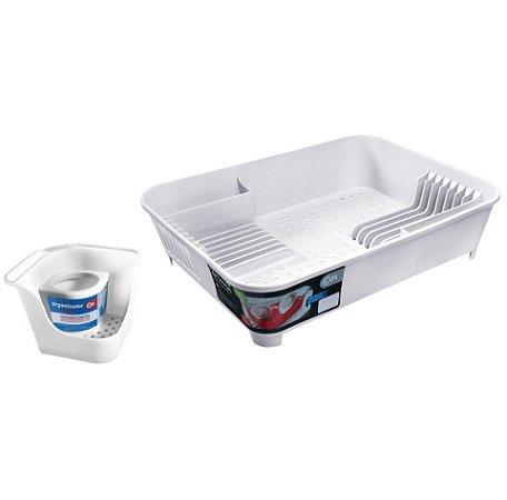 Kit Organizador De Pia Porta Detergente Escorredor De Louças Pratos Talheres Basic Branco - Coza
