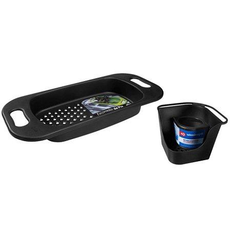 Kit Organizador De Pia Porta Detergente Escorredor Para Pia Lavar Frutas Verduras Basic Preto - Coza