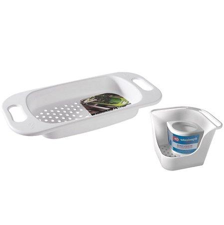 Kit Organizador De Pia Porta Detergente Escorredor Para Pia Lavar Frutas Verduras Basic Branco - Coza
