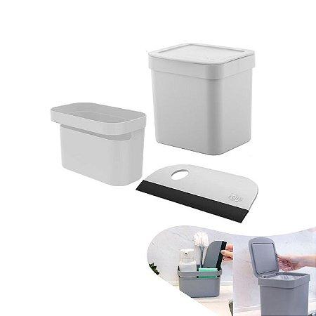 Kit Lixeira 2,5l Organizador Pia Porta Detergente Rodo Trium Compacto Cozinha - Ou