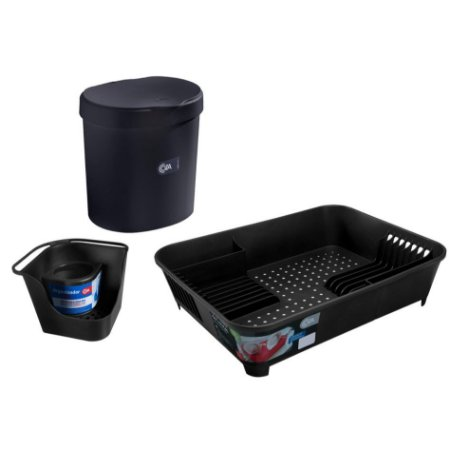 Kit Lixeira 2,5L Organizador De Pia Porta Detergente Escorredor De Louças Basic Preto - Coza