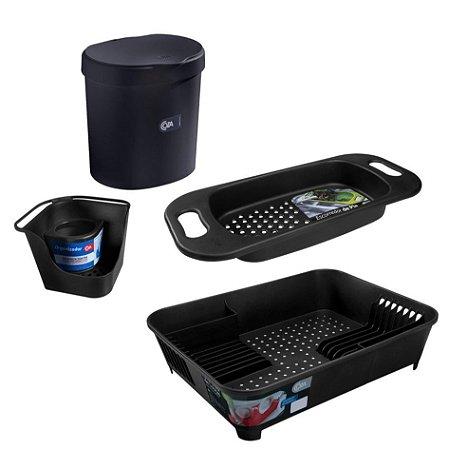 Kit Lixeira Organizador Pia Porta Detergente Escorredor De Louças Escorredor Pia Cuba Basic Preto - Coza