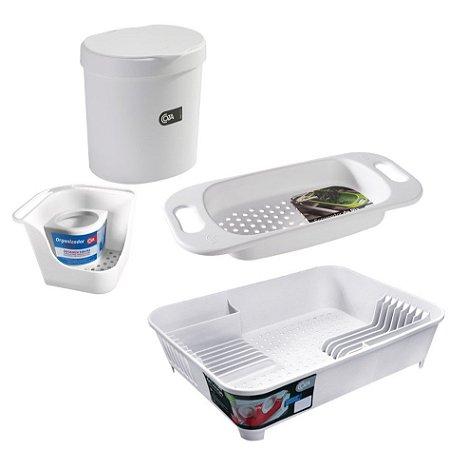 Kit Lixeira Organizador Pia Porta Detergente Escorredor De Louças Escorredor Pia Cuba Basic Branco - Coza