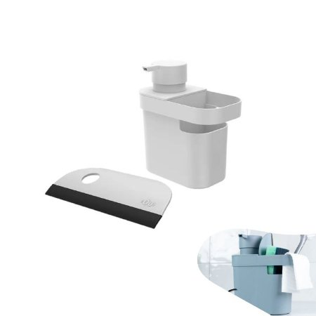 Kit Dispenser Porta Detergente Organizador Utensílios Rodo Bancada Pia Cozinha - Ou