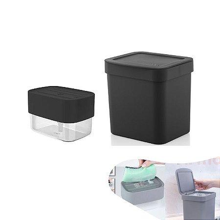 Kit Lixeira 2,5l Com Tampa Dispenser Porta Detergente Líquido Bancada Pia Cozinha - Ou