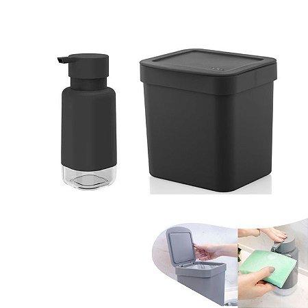 Kit Lixeira 2,5l Com Tampa Dispenser Porta Detergente Bancada Pia Cozinha - Ou