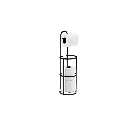 Suporte Triplo Porta Papel Higiênico Papeleira Rolo Chão Parede Banheiro Preto Fosco - 1609PT Future