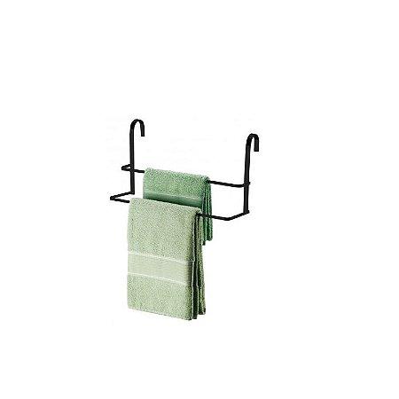 Suporte Porta Toalha Duplo Toalheiro Prático Box Banheiro Preto Fosco - 1612PT Future