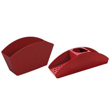 Kit Organizador De Pia Porta Detergente Escorredor De Talheres Basic Bancada Cozinha Vermelho - Coza