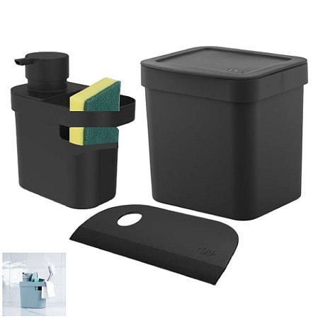 Kit Lixeira 2,5l Dispenser Porta Detergente Esponja Rodo Compacto Pia Cozinha - Ou