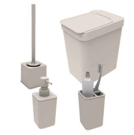 Kit Banheiro Dispenser Sabonete Porta Escova Sanitária Lixeira 5l Suporte Escova Dente - Soprano