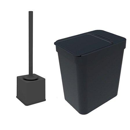 Kit Banheiro Suporte Escova Sanitária + Lixeira 5 Litros Com Porta Saco - Soprano