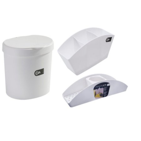 Kit Lixeira 2,5L Organizador De Pia Porta Detergente Esponja Escorredor De Talheres Basic Branco - Coza