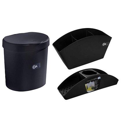 Kit Lixeira 2,5L Organizador De Pia Porta Detergente Esponja Escorredor De Talheres Basic Preto - Coza