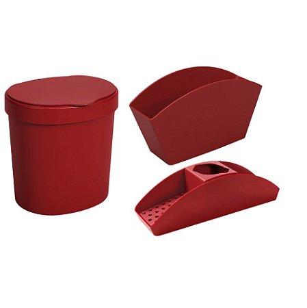 Kit Lixeira 2,5L Organizador De Pia Porta Detergente Esponja Escorredor De Talheres Basic Vermelho - Coza