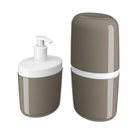Kit Porta Sabonete Líquido Dispenser Suporte Escova Dente Creme Dental Com Tampa Cinza - Coza