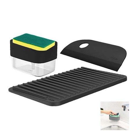 Kit Dispenser Porta Detergente Esponja Escorredor Copos Utensílios Rodo Pia Cozinha - Ou