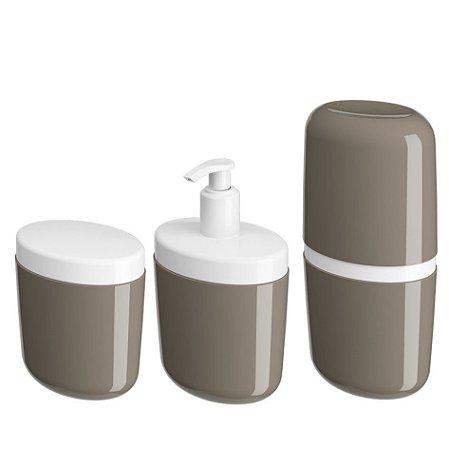 Kit Porta Sabonete Líquido Dispenser Suporte Escova Dente Algodão Cotonete Cinza - Coza
